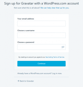 WordPress004, Creating a Gravatar